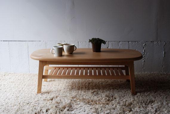 コーヒーテーブル スーパー楕円ハードメープル無垢材 3022