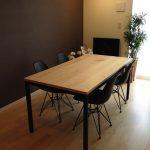 ミーティングテーブル ハードメープル無垢材&アイアン脚 c3037