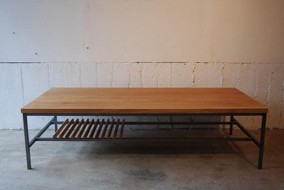 リビングテーブル 小棚付きアイアン脚 3024