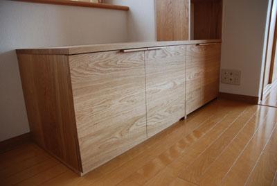天井までのTVボードと本棚 ナラ無垢材 c5017イメージ-2