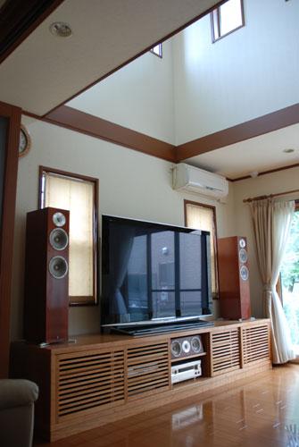 テレビボード ルーバー扉チェリー材 幅3m c5020