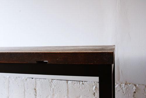 オーダーデスクとウォールナットのデスクワゴン 古材&アイアン脚 c3015イメージ-3