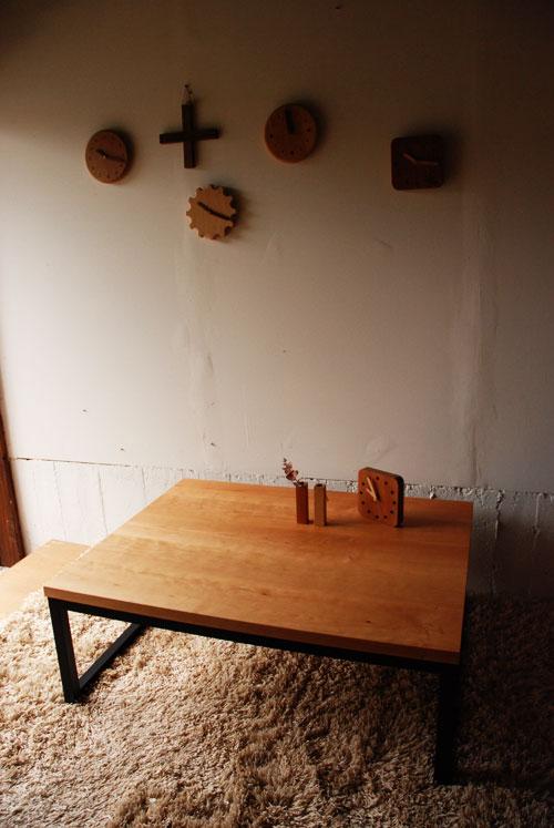 ローテーブル チェリー無垢材&スチール黒脚 c3033