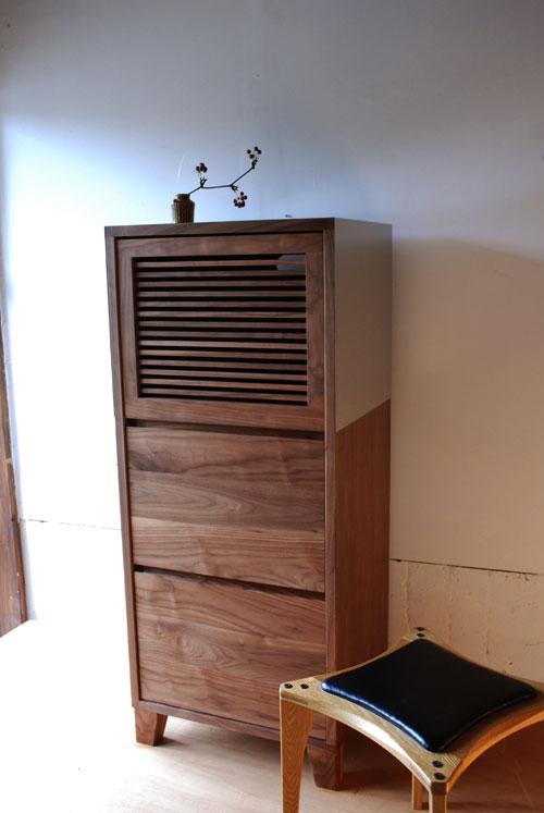 レンジ台 ウォールナットのフラップアップ収納扉&ステン貼り c5046