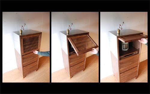 レンジ台 ウォールナットのフラップアップ収納扉&ステン貼り c5046イメージ-1