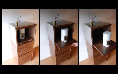 レンジ台 ウォールナットのフラップアップ収納扉&ステン貼り c5046イメージ-2