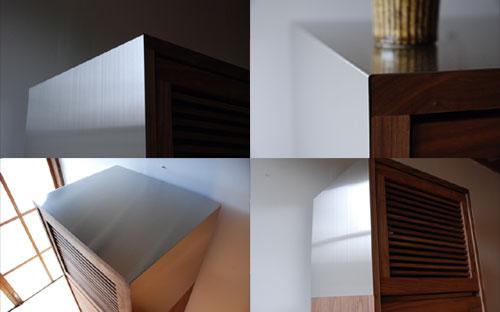 レンジ台 ウォールナットのフラップアップ収納扉&ステン貼り c5046イメージ-3