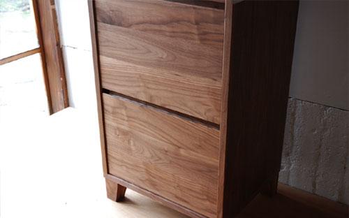 レンジ台 ウォールナットのフラップアップ収納扉&ステン貼り c5046イメージ-6