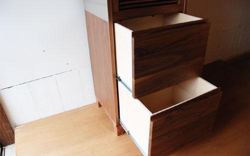 レンジ台 ウォールナットのフラップアップ収納扉&ステン貼り c5046イメージ-7