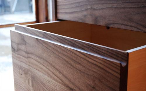 レンジ台 ウォールナットのフラップアップ収納扉&ステン貼り c5046イメージ-9