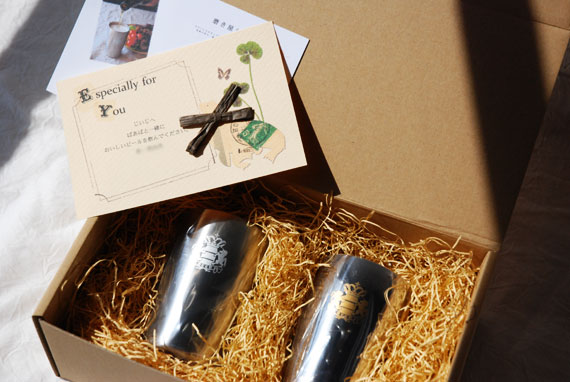 磨き屋シンジケート ビアゴブレットペアセット ギフト用 ミラー・マット&桐箱 8016