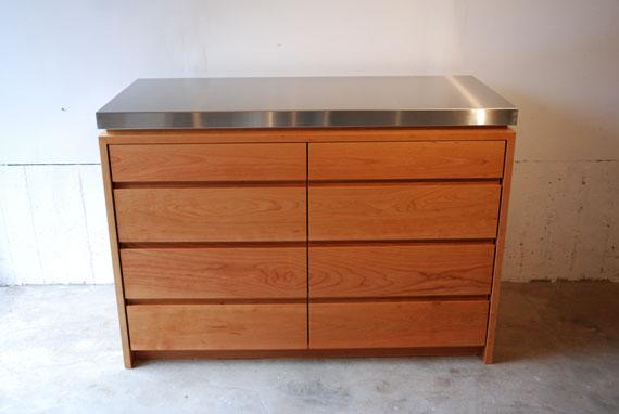 ステンレスの厚天板キッチンボード ブラックチェリー c5054