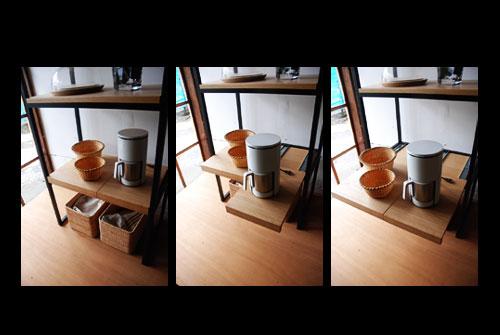 スチールフレームのナラのレンジ台&スライド棚 5020イメージ-3