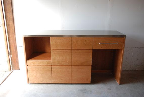 炊飯器やゴミ箱や食器を効率よく収納できるキッチン家具 5033