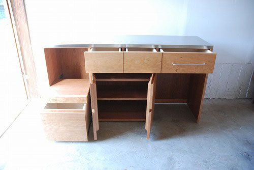 炊飯器やゴミ箱や食器を効率よく収納できるキッチン家具 5033イメージ-4