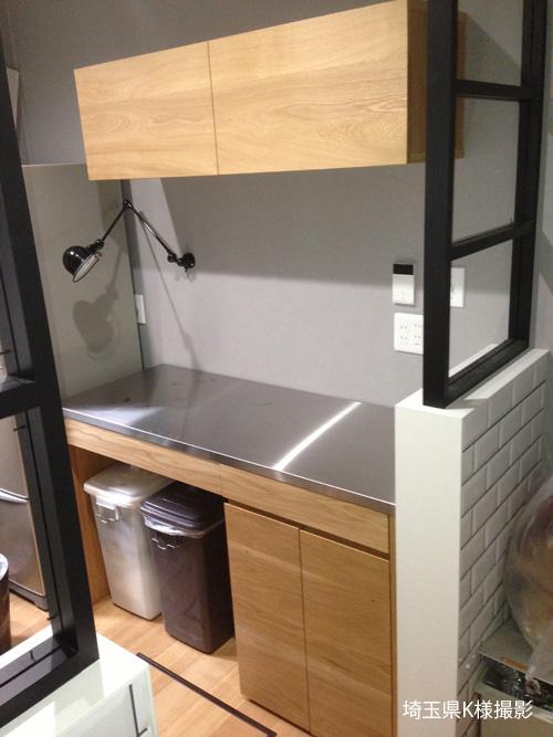 吊戸棚とステンレス天板キッチンボードをナラ材で 5040イメージ-3