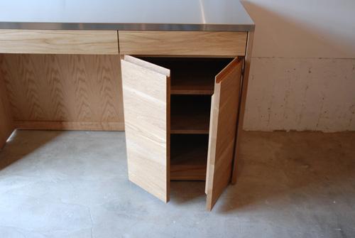 吊戸棚とステンレス天板キッチンボードをナラ材で 5040イメージ-12