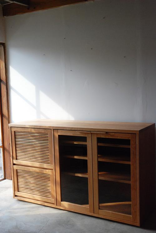 オーダーメイドレンジ台 炊飯器とレンジと酒器の収納 チェリー材 5041イメージ-2