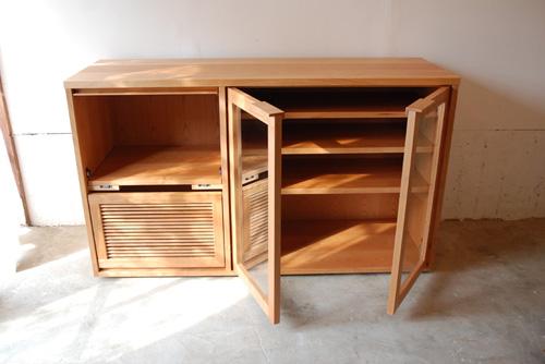 オーダーメイドレンジ台 炊飯器とレンジと酒器の収納 チェリー材 5041イメージ-8