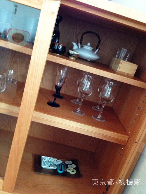 オーダーメイドレンジ台 炊飯器とレンジと酒器の収納 チェリー材 5041イメージ-9