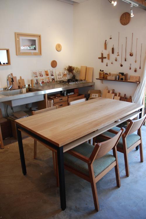 ダイニングテーブル 棚付き/ 4人用 Yチェアのアーム収納 3027イメージ-3