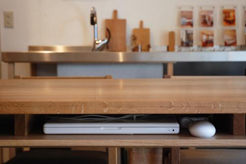 ダイニングテーブル 棚付き/ 4人用 Yチェアのアーム収納 3027イメージ-8