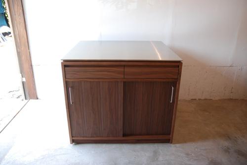 アイランドカウンター・食器棚 ステンレス天板とウォールナット 5045イメージ-4