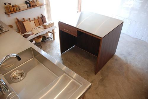 アイランドカウンター・食器棚 ステンレス天板とウォールナット 5045イメージ-11