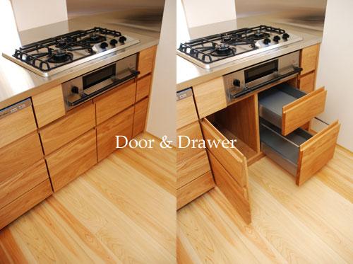 オーダーキッチン リビング収納と一体になった木の家具のような 5025イメージ-12