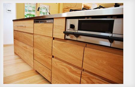 オーダーキッチン リビング収納と一体になった木の家具のような 5025イメージ-9