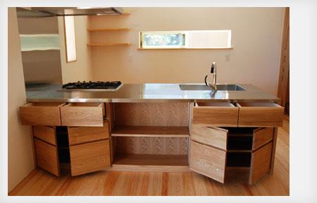 オーダーキッチン リビング収納と一体になった木の家具のような 5025イメージ-15