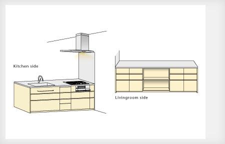 オーダーキッチン リビング収納と一体になった木の家具のような 5025イメージ-3