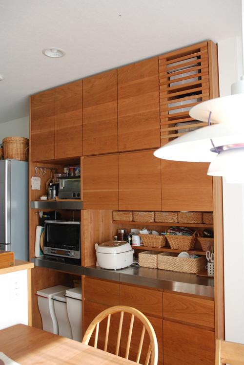 カップボード・食器棚 ステンレストップとチェリー材 5044
