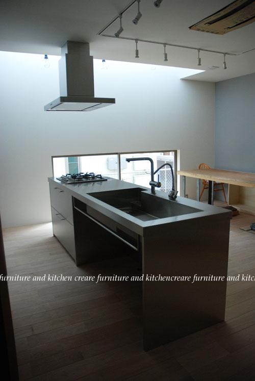 ステンレスオーダーキッチン 110cmの大きなシンクとドロップインコンロ 643イメージ-2