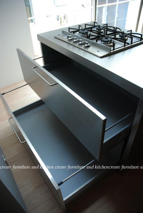 ステンレスオーダーキッチン 110cmの大きなシンクとドロップインコンロ 643イメージ-7