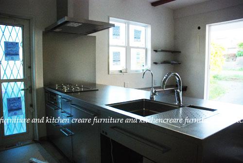 段付きシンクの対面キッチン バイブレーションサンダー仕上のステンレス 654イメージ-2