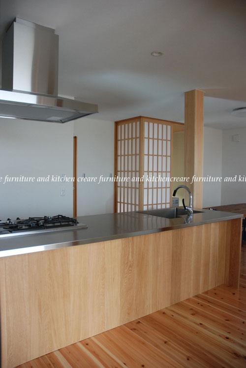 オーダーキッチン 無垢カウンターパネル&木とステンレス 636イメージ-1