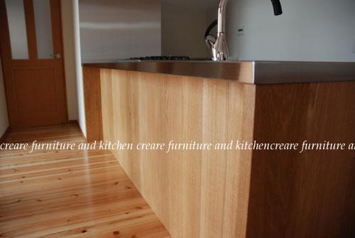 オーダーキッチン 無垢カウンターパネル&木とステンレス 636イメージ-2