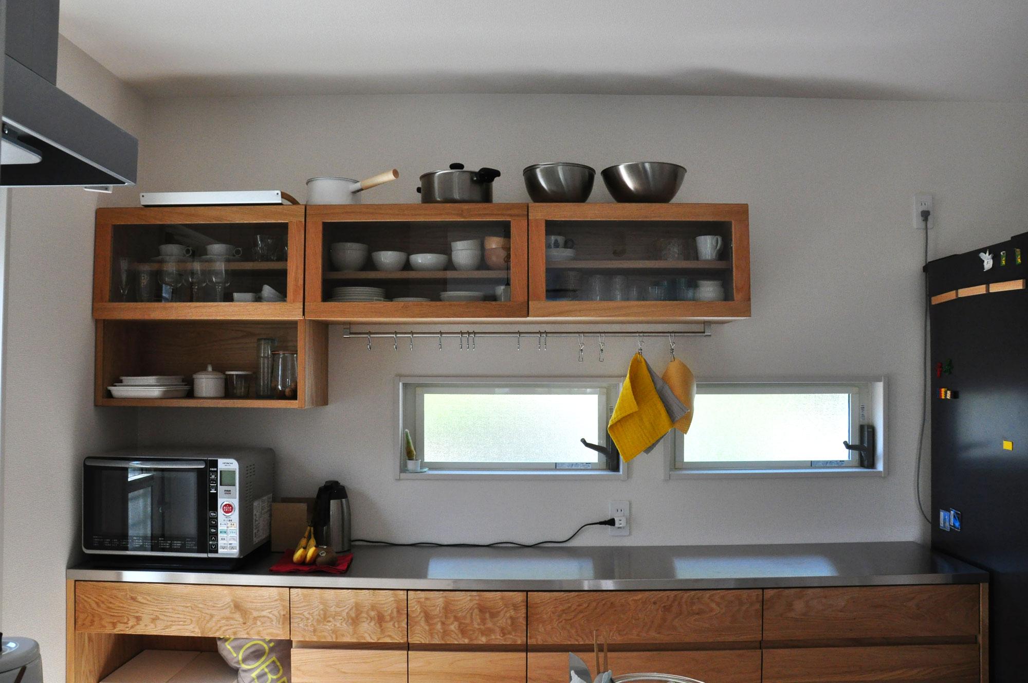 壁から冷蔵庫までの食器棚と吊戸棚 ツールバーを付けて 5057