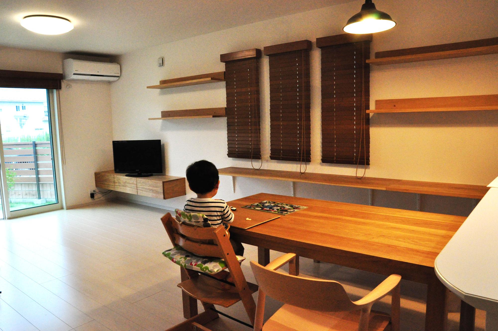 フロートテレビボードと本棚と長机カウンターデスク 5046
