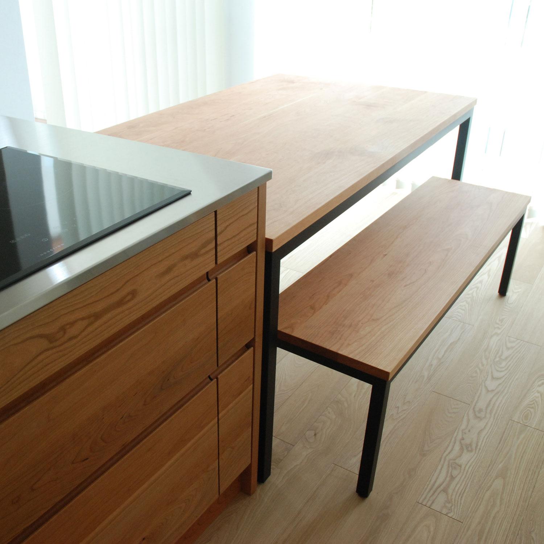 テーブルとベンチをオーダーキッチンと一緒に製作 3029イメージ-8