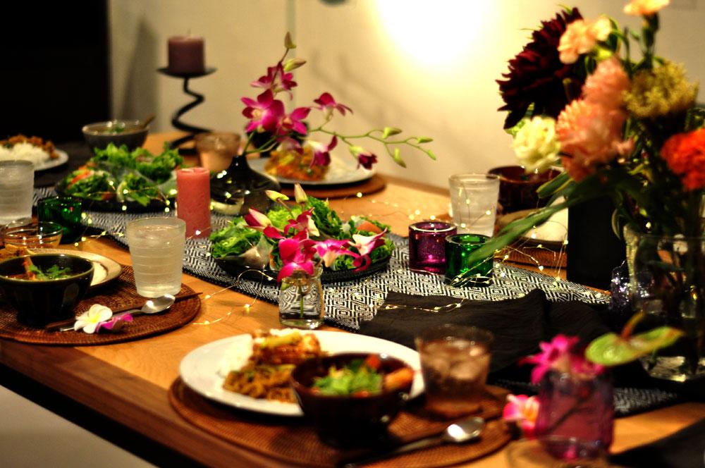 タイ料理教室 夜バージョンの様子