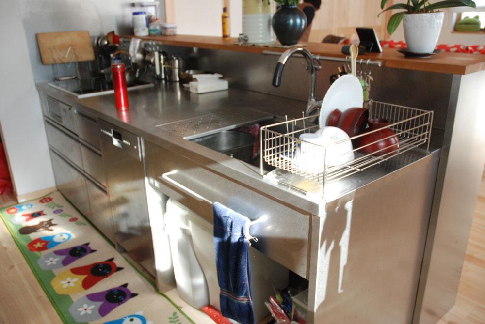 ステンレスオーダーメイドキッチン 手元が隠せる対面キッチン 726イメージ-1