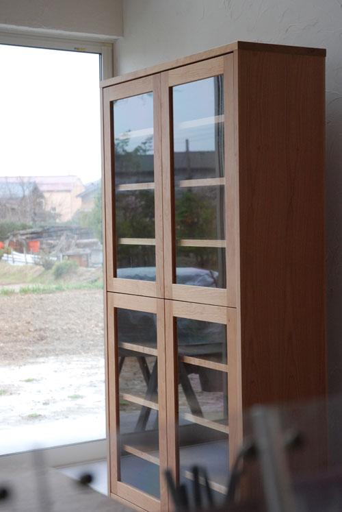 オーダー食器棚 ガラス扉&チェリー 717イメージ-1