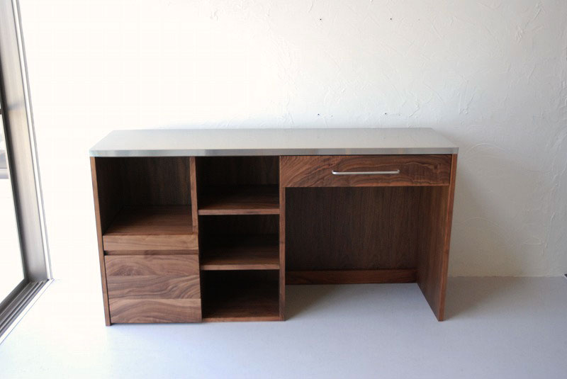 オープン棚の多いキッチンボード ウォールナット 769