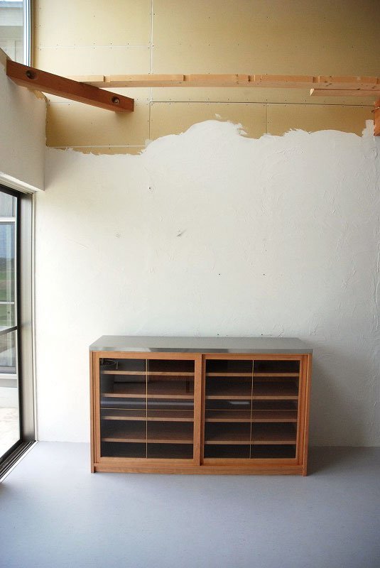 食器棚 分割できるステンレスのカウンター天板チェリー 742イメージ-6