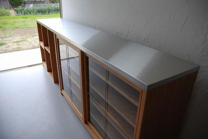 食器棚 分割できるステンレスのカウンター天板チェリー 742イメージ-2