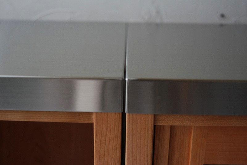 食器棚 分割できるステンレスのカウンター天板チェリー 742イメージ-3