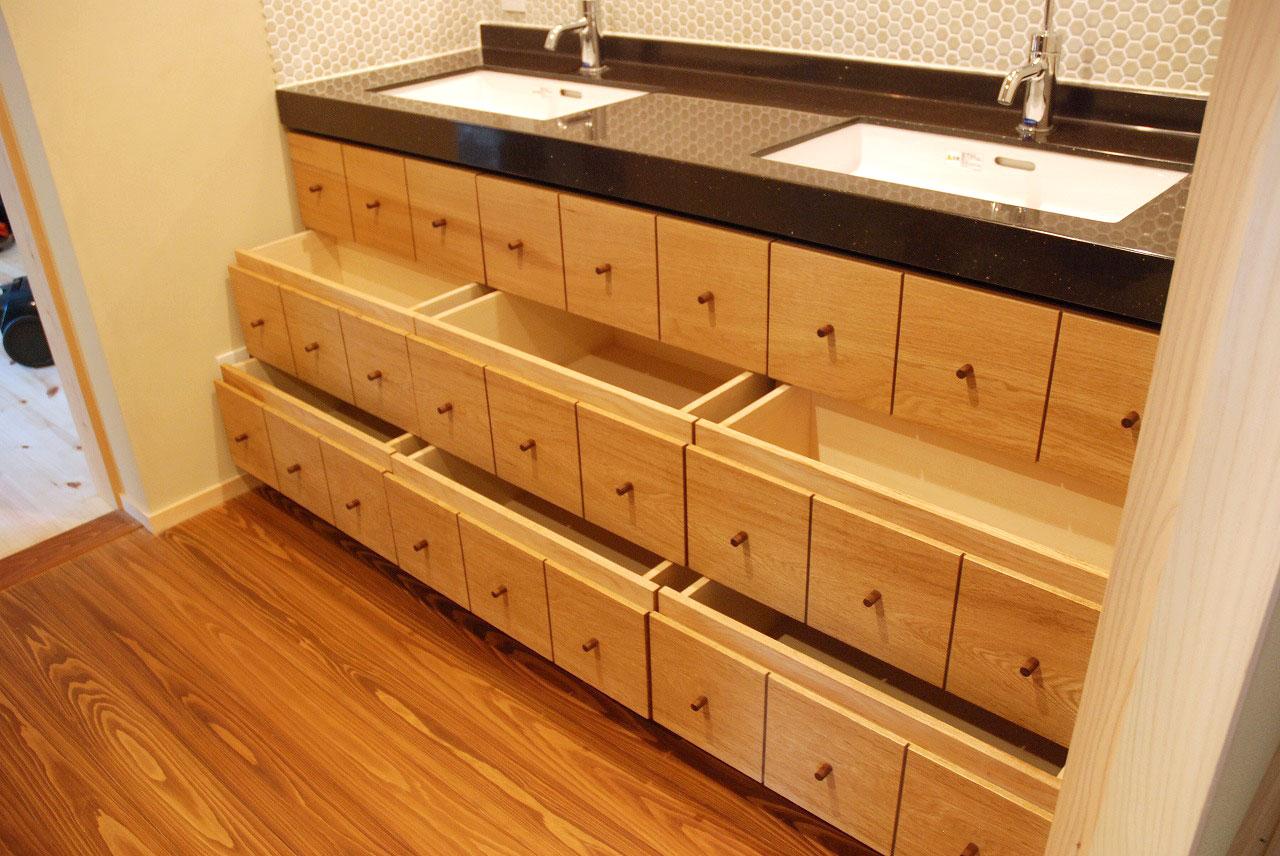 洗面収納/カウンター下収納 ナラ材・ウォールナット材 720イメージ-4