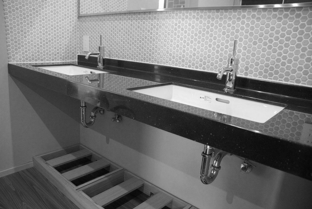洗面収納/カウンター下収納 ナラ材・ウォールナット材 720イメージ-5